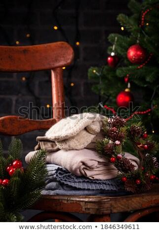 Rustykalny krzesło trykotowy ubrania christmas starych Zdjęcia stock © furmanphoto