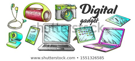 Digital Audio And Video Gadgets Color Set Vector Stock photo © pikepicture
