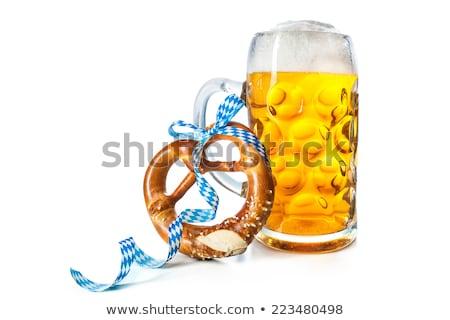 Oktoberfest perecek sör bögre szett világos sör Stock fotó © karandaev