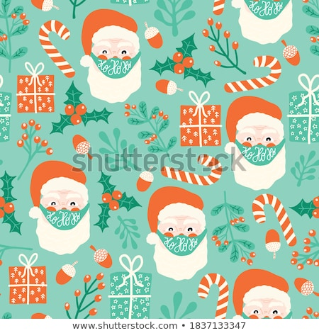 Christmas seamless pattern with gift boxes and mistletoe Stock photo © balasoiu