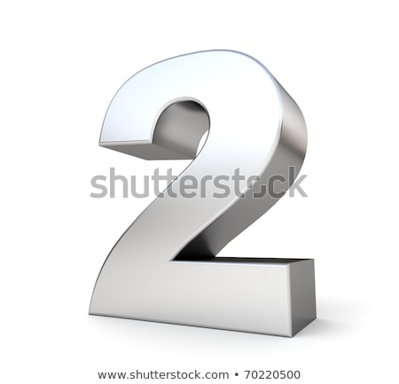 Brushed metal font Number 2 TWO 3D Stock photo © djmilic
