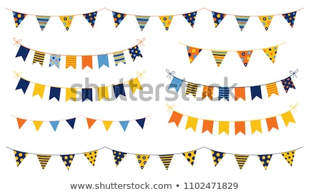 Cute Vector Background With Party Bunting Flags In Blue Stockfoto © Pravokrugulnik