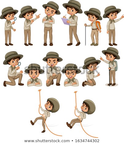 Boy in safari outfit doing different things Stock photo © bluering
