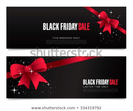 Foto stock: Black Friday Sale Banners With Ribbon Bows Set
