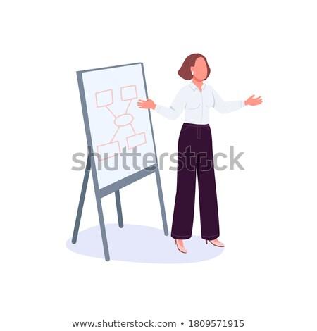 Mentoring eenvoudige ontwerp cartoon zakenman Stockfoto © tashatuvango