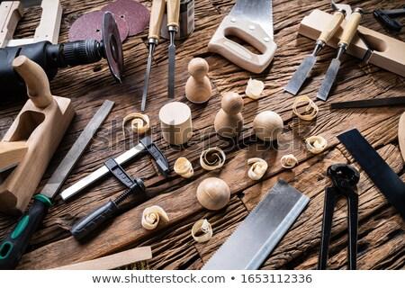 Afgewerkt houten objecten timmerman tools Stockfoto © AndreyPopov