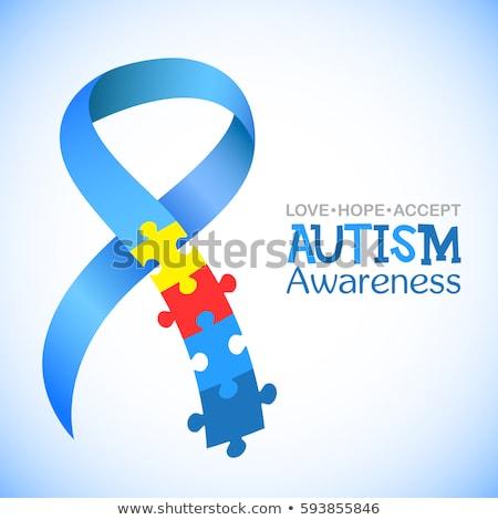 Autismo consciência dia projeto peças do puzzle mundo Foto stock © blumer1979