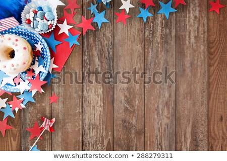 Nap party étel amerikai zászló ünneplés ünnepek közelkép Stock fotó © dolgachov