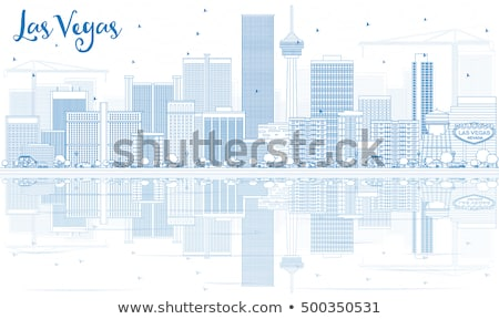Gliederung Las Vegas Skyline blau Gebäude Reflexionen Stock foto © ShustrikS