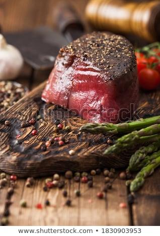 Fatia carne articulação sal pimenta Foto stock © DenisMArt