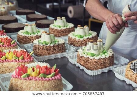 マニュアル ケーキ 生産 工場 手 技術 ストックフォト © olira
