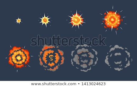 Animation of explosion effect in cartoon comic style. Cartoon explosion effect with smoke for game.  Stock photo © designer_things