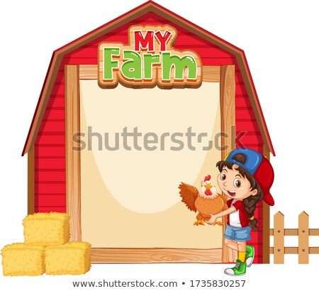 Border template design with girl and chickens Stock photo © bluering