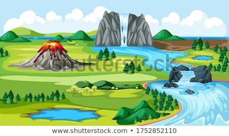 Legelő park vulkán víz ősz folyó Stock fotó © bluering