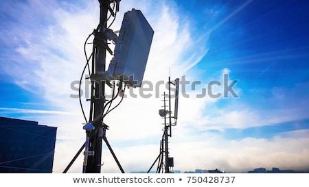 magenta · mobiele · telefoon · toren · silhouet · zonsondergang · telefoon - stockfoto © ansonstock