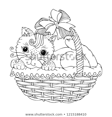 Adorable kitty in basket Stock photo © simply