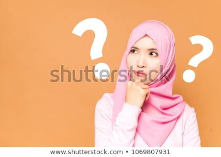 Muslim beauty woman thinking Stock photo © zurijeta