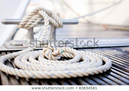Einde touw sterke nylon geïsoleerd Stockfoto © klikk