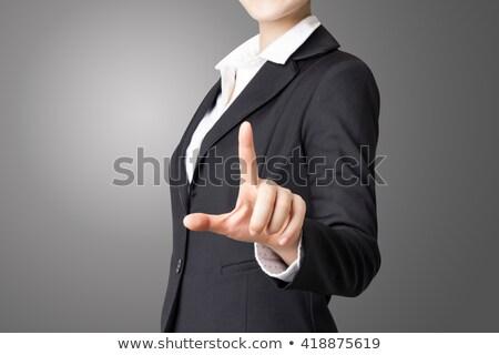 mão · empurrando · sucesso · botão · isolado · branco - foto stock © maridav