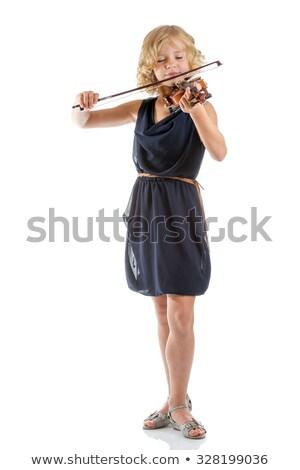 gyönyörű · lány · hegedűművész · fehér · mosoly · szépség · jókedv - stock fotó © mrakor