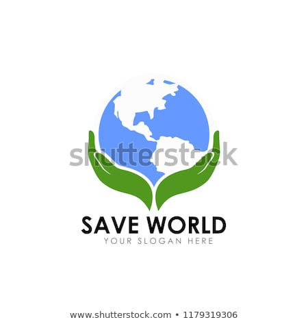 Stock photo: earth supported by hands. Abstract sign