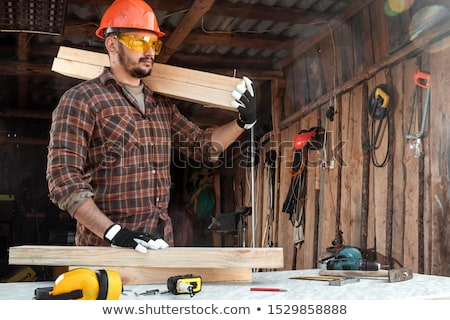 Adam kereste iş ağaç el Stok fotoğraf © photography33