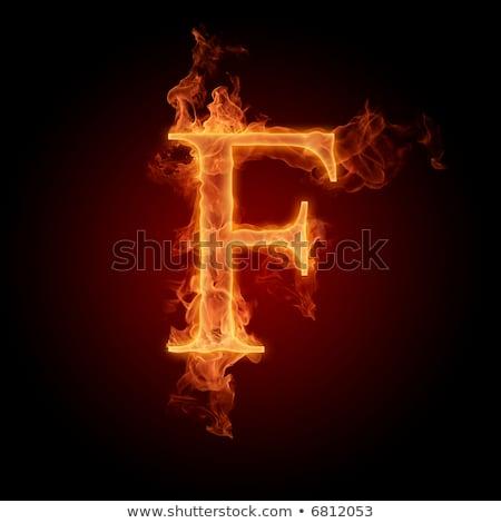 Ardiente fuente letra f azul ilustración negro Foto stock © dvarg