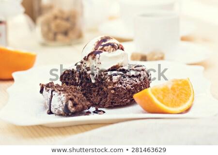 Sıcak çikolata kek dondurma turuncu gıda buz Stok fotoğraf © happydancing
