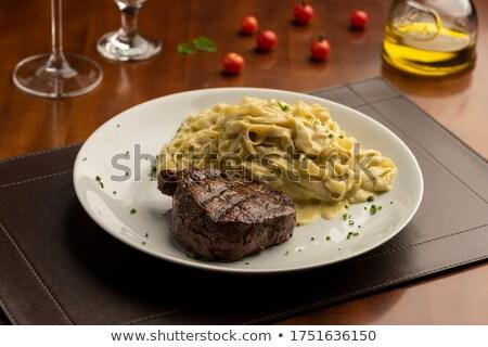 Fettuccini With Roasted Tomato And Basil Stock photo © bendicks