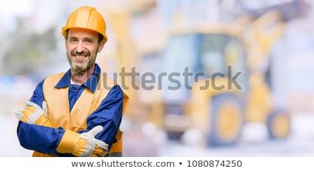 supérieurs · homme · ingénieur · boîte · à · outils · casque - photo stock © stockyimages