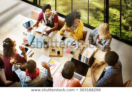 students working together at a desk stock photo © photography33