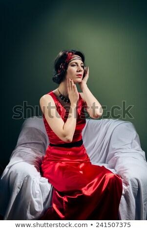 portrait of young retro woman in royal interior space stock photo © victoria_andreas