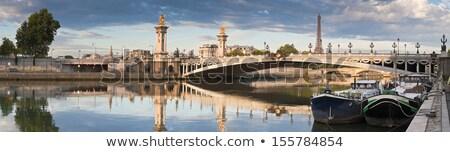 híd · Eiffel-torony · Párizs · folyó · ibolya · Franciaország - stock fotó © fazon1