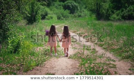 zorgeloos · tweelingen · portret · gelukkig · meisje · lopen · beneden - stockfoto © val_th