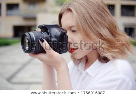 cute · jeunes · dame · jeune · femme · maison - photo stock © lithian