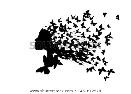 Cheveux noirs papillon saine papier kite Photo stock © Melpomene
