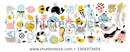 Underwater world banner with seahorse and fish, vector  Stock photo © carodi