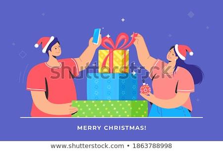 ストックフォト: 小さな · 幸せ · カップル · 着用 · サンタクロース