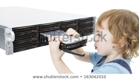 cute child with network server Stock photo © gewoldi