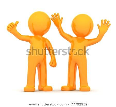 couple of fun happy orange 3d persons stock photo © kirill_m