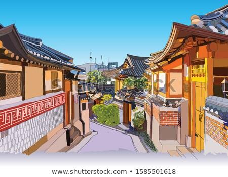 Hagyományos építészet ház fa fa terv Stock fotó © leungchopan