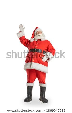 Noel baba el yukarı beyaz yüz adam Stok fotoğraf © fotoatelie