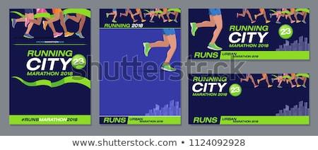 Maraton futók poszter vektor absztrakt naplemente Stock fotó © burakowski