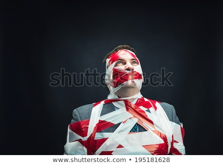 Businessman with red strip over mouth Stock photo © stevanovicigor