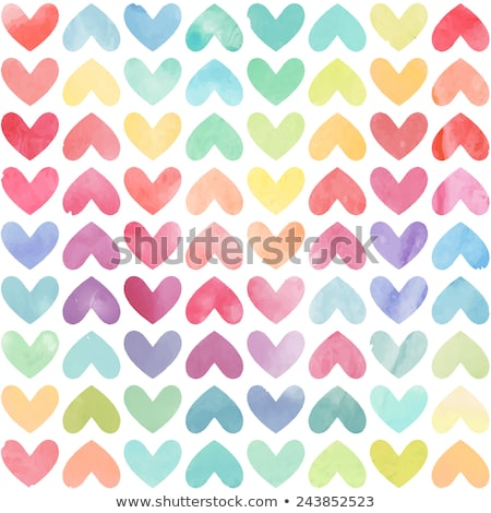 vector seamless pattern with watercolor hearts and splashes stock photo © alexmakarova
