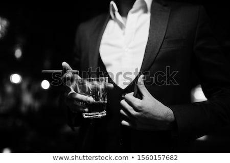 Maffia man kleding gelukkig zakenman dienst Stockfoto © davisales