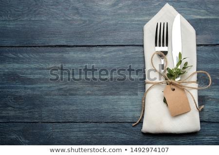 Evőeszköz perem asztalterítő absztrakt keret kés Stock fotó © manera