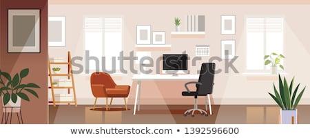 Otthon dolgozik faliszekrény belső fehér fotel Stock fotó © vizarch