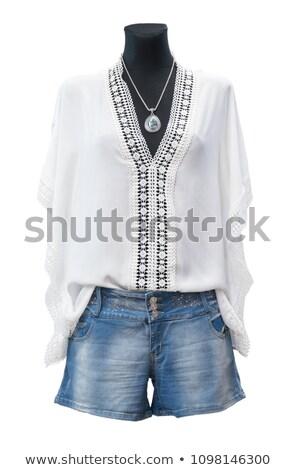 Visel farmer ruházat bolt üzlet kék Stock fotó © bmonteny