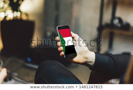 Smartphone banderą Sudan telefonu telefon komórkowych Zdjęcia stock © vepar5